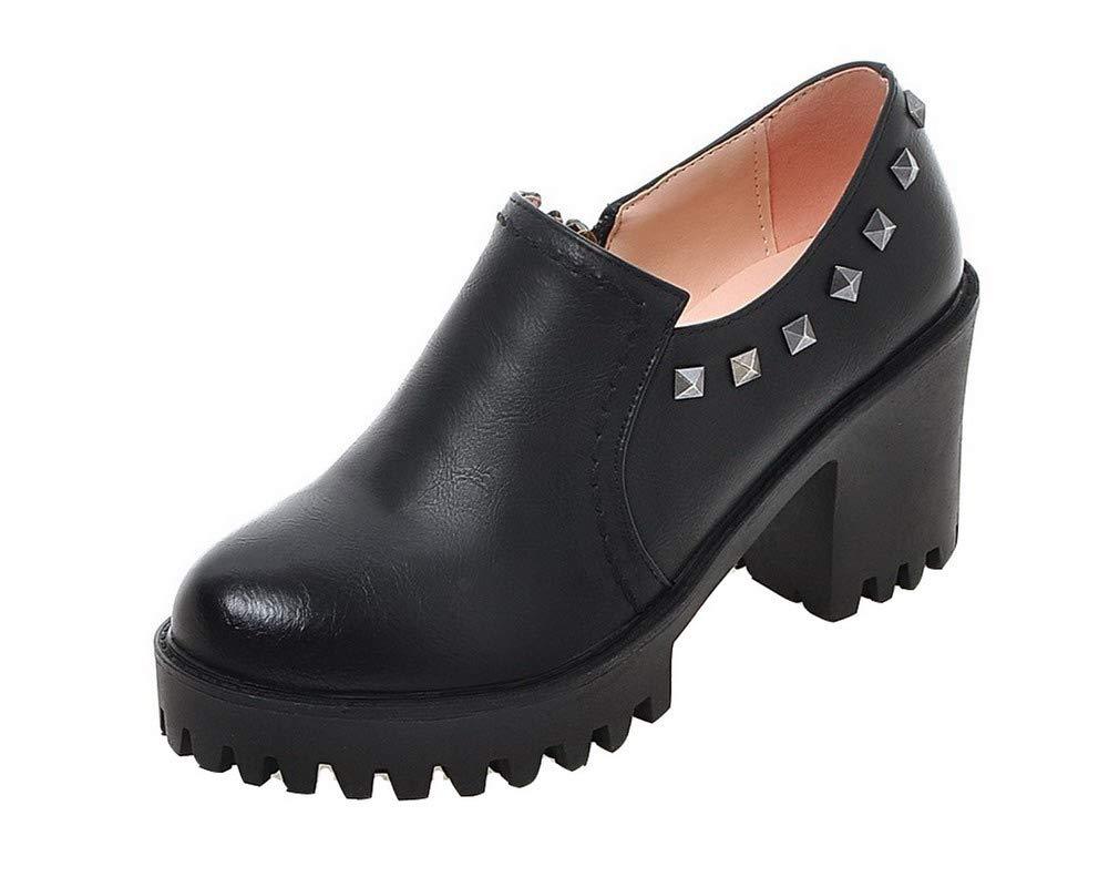 AalarDom Femme à Talon Haut PU Cuir Haut Couleur 19995 Unie Chaussures Zip Rond Chaussures Légeres, TSFDH005719 Noir cb01012 - piero.space