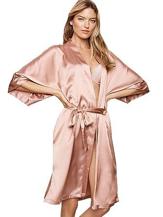 835ad42f2b676 Victoria's Secret Satin Kimono Robe Very Sexy Peach M/L at Amazon ...