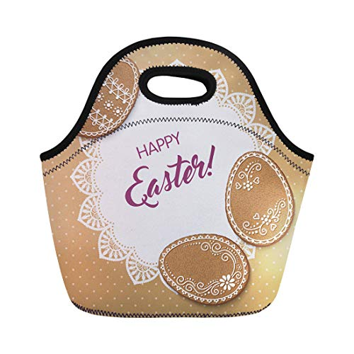 Semtomn Lunch Bags Baked Happy Easter Polka Dot Lacy Doily and Egg Neoprene Lunch Bag Lunchbox Tote Bag Portable Picnic Bag Cooler -