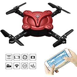 RC Quadcopter Drone with FPV Camera and Live Video - Flexiable Foldable Aerofoils - App and Wifi Phone Control UAV - Altitude Hold 3D Flips & Rolls- 6-Axis Gyro Gravity Sensor RTF Helicopter, Red
