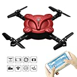 RC Quadcopter Drone with FPV Camera and Live Video - Flexible Foldable Aerofoils - App and Wifi Phone Control UAV - Altitude Hold 3D Flips & Rolls- 6-Axis Gyro Gravity Sensor RTF Helicopter, Red