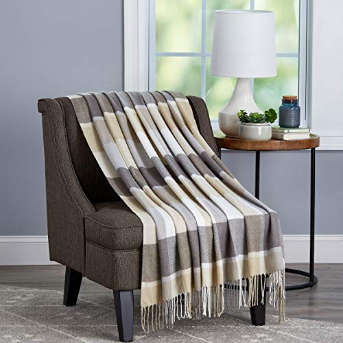 Lavish Home Collection Soft Blanket-Oversized, Luxuriously Fluffy, Vintage Look and Cashmere-Like Woven Acrylic - Breathable and Stylish Throws, Stone Plaid
