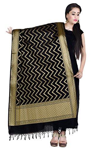 Chandrakala Women's Handwoven Black Cutwork Brocade Banarasi Dupatta Stole Scarf,Free Size (D146BLA)