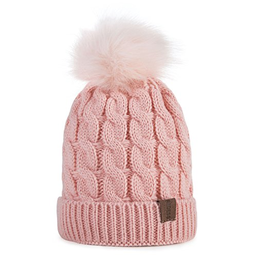 Kids Winter Warm Fleece Lined Hat, Baby Toddler Children's Beanie Pom Pom Knit Cap for Girls and Boys by REDESS (Pink) (Pink Hat Toddler)