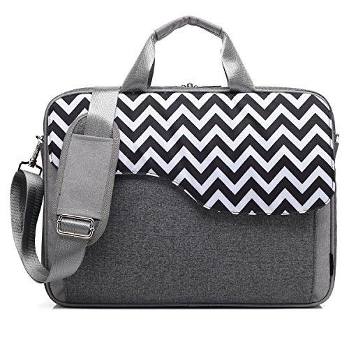 CoolBELL 17.3 Inch Nylon Laptop Bag Shoulder Bag with Strap Multicompartment Messenger Hand Bag Tablet Briefcase for iPad Pro/Laptop / MacBook/Ultrabook / Men/Women / College (Grey Wave)