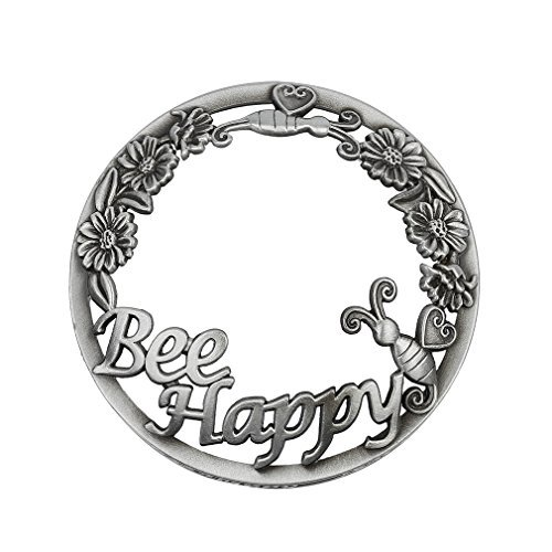 Jar Candle Topper Candle Shade Metal Silver Bronze Scroll (4 Style---Owl,Bee Happy,Slippers,Leaves) (Bee Happy) by EBRICKON