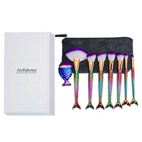 Anfukone Mermaid Makeup Brushes Set 10PCS Powder Foundation Blush Concealer Eyeliner Eyeshadow Cosmetics Brushes Tool ()
