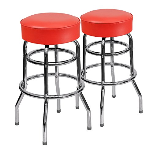 Flash Furniture 2 Pk. Double Ring Chrome Barstool with Red Seat