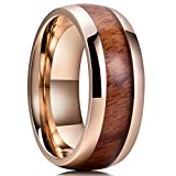 King Will NATURE Koa Wood Inlay Titanium Wedding Ring 8mm Gold Plated Dome Style High Polished Comfort Fit 6