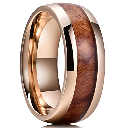 King Will Nature Koa Wood Inlay Titanium Wedding Ring 8mm Gold Plated Dome Style High Polished Comfort Fit 9.5
