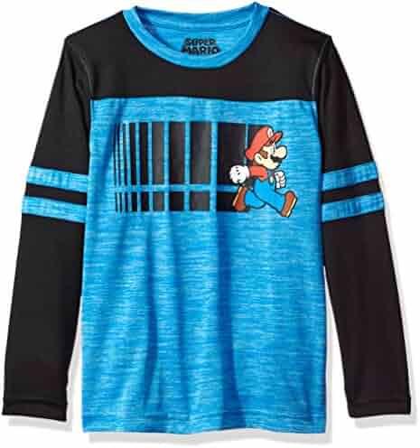 Nintendo Big Boys' Run Mario Long-Sleeve Knit Tee