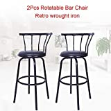 Blueseao Vintage Wrought Iron Rotating High Stool Bar Chair with Arms Steel Counter Height,Set of 2