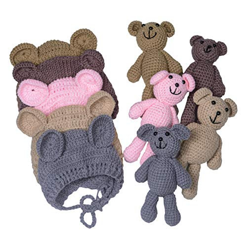 EUDORA Crochet Newborn Photography Boys/Girls Knit Toy Bear Hats, Infant Baby Photo Prop Costume Pink -