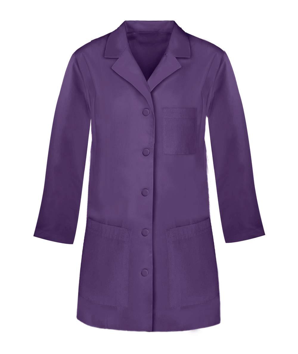 Panda Uniform Custome 32-Inch Women's Snap Front Lab Coat- Purple -L