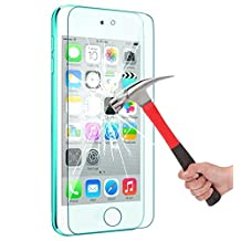 iPod touch (6th Gen, 5th Gen) Tempered Glass Screen Protector, 0.2mm Ultrathin Screen Protector with 9H Hardness [Scratch-Proof] [No-Bubble Installation] for /Touch 5th/Touch 6th Gen