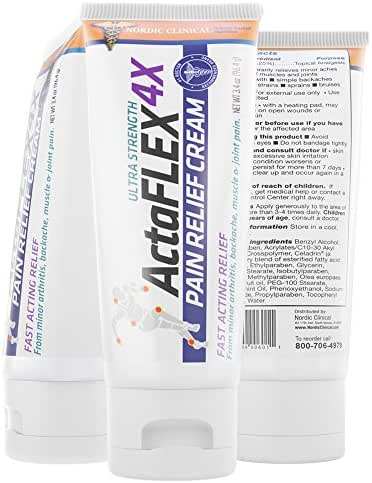 Nordic Clinical's ACTAFLEX 4X Pain Relief Cream, 4 Oz. Rubs Out Pain on Contact. Muscle Pain Relief Cream with Menthol. Pain Relief Cream Knee, Pain Relief Cream Muscle.