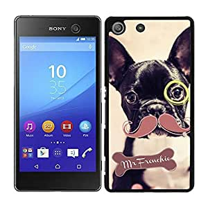 funda carcasa para Sony Xperia M5 dibujo perro con bigote y monóculo mr frenchie bulldog francés borde negro