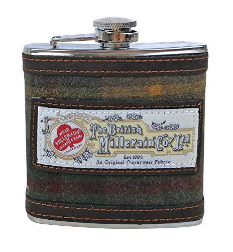 - Mens 6oz Stainless Steel and Harris Tweed Patterned Hip Flask in gift box (Vintage Brown 7036)