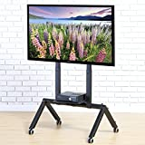 FITUEYES Mobile TV Cart for LCD LED Plasma Flat Panel TV Stand With Wheels fits 37'' to 70'',TT108001MB