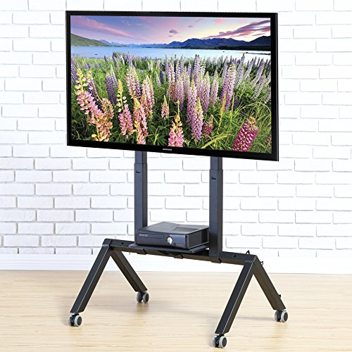 FITUEYES Mobile TV Cart for LCD LED Plasma Flat Panel TV Stand With Wheels fits 37