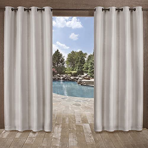Exclusive Home Curtains Delano Heavyweight Textured Indoor Outdoor Grommet Top Curtain Panel Pair, 54×84, Silver, 2 Piece