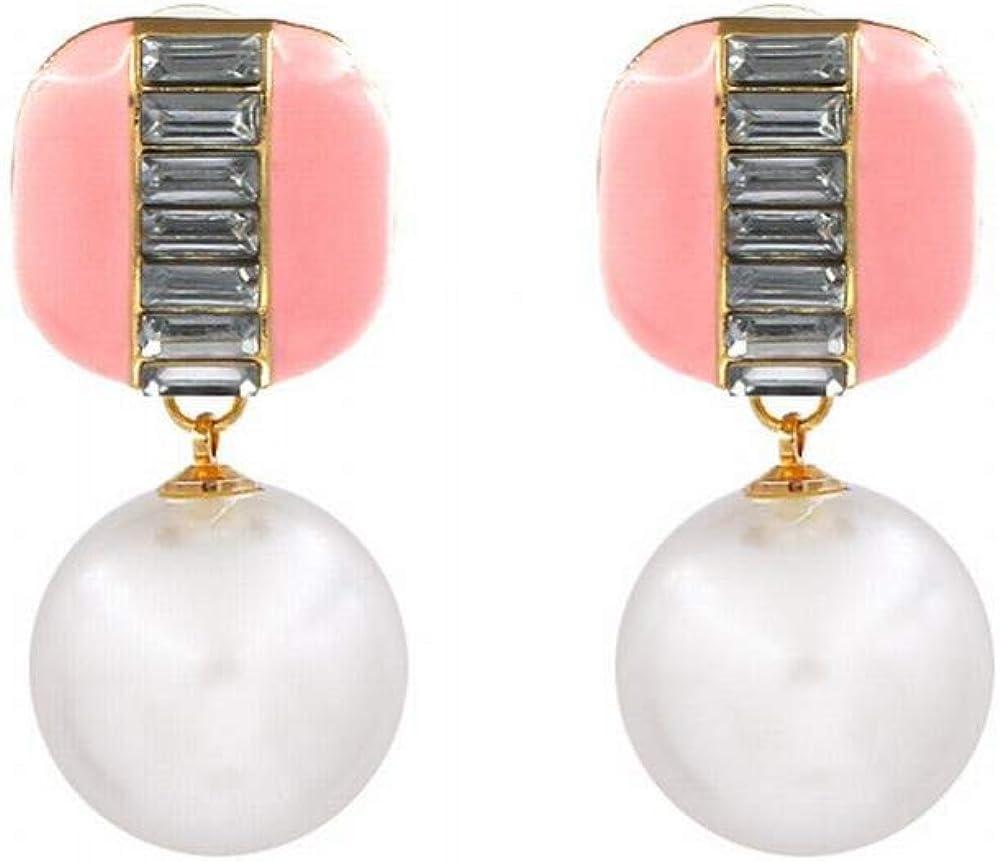 ZRDMN Pendientes colgantes Dangler Eardrop Joyas para mujer Pendientes de perlas Multicolores simples cubos de azúcar Metal Drop Oil Pendientes de botón