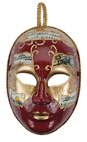 Loftus International Music Notes Full Face Masquerade Venetian Mask, Red/Gold, One Size (Music Masquerade Mask)