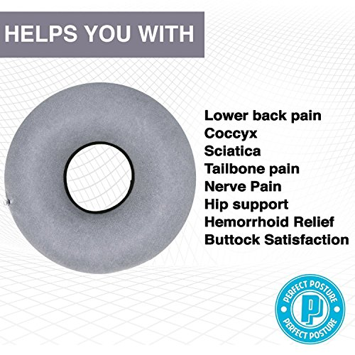Inflatable-Donut-Seat-Cushion-Doctor-Recommended-for-Hemorrhoid-Treatment-Bed-Sores-Coccyx-Tailbone-Pain-Premium-CoolTec-Fabric-with-Pump-and-Travel-Bag-Included-15-Ring-Pillow