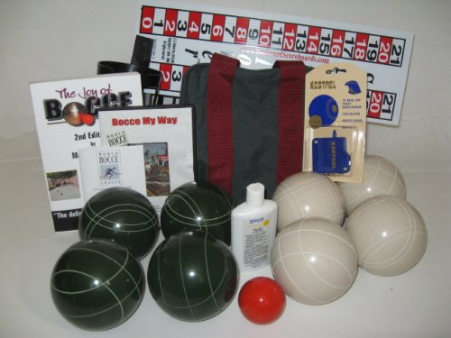 Everything Bocce Package - 110mm Epco White and Green Balls, Score Tower, Hig... by Epco