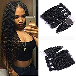 8A Brasilian Deep Wave Curly Hair 3 Bundles with Closure Free Part Double Weft Human Hair Extensions Dyeable Human Hair Weave