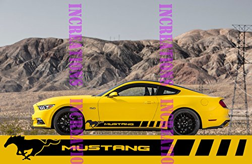 Shelby Convertible - Ford Mustang Racing Side Stripes Decals Gt Shelby Convertible Sticketrs Stripes (White)