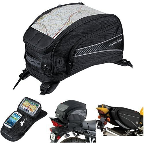 Nelson-Rigg CL-2015-ST Black Strap Mount Journey Sport Tank Bag,  CL-GPS-MG Black Magnetic Mount Journey GPS Mate,  (CL-1040-TP) Black Jumbo Expandable Tail Bag,  and  CL-950 Black Deluxe Sport Touring Saddle Bag Bundle