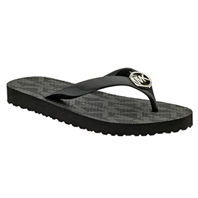 2cdc1732966 Amazon.com | Michael Kors Jet Set Rubber Flip Flops Black Size 7 MK Womens  | Flip-Flops