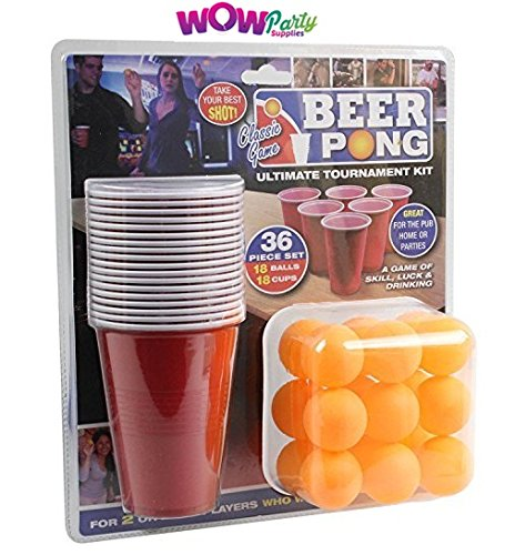 WOW 36 Piece Beer Pong Ultimate Tournament Kit Cups & Balls Adults Drinking Game Set Wow Party Supplies