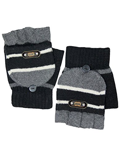 Men's Striped Pop-Top Convertible Acrylic Fingerless Mitten Gloves - Black (Convertible Glove Striped)