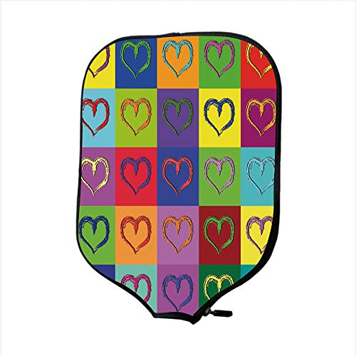Heart Pickles - Neoprene Pickleball Paddle Racket Cover Case,Art,Warholesque Vivid Hearts in Colorful Squares Pop Art Inspired Artwork Sixties Retro Decorative,Multicolor,Fit for Most Rackets - Protect Your Paddle