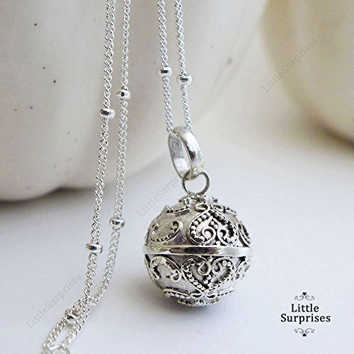12mm Small Lace Hearts Chime Sound Harmony Ball Sterling Silver Pendant 16