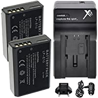 LP-E10 Battery (2) Extended Life Li-Ion Batteries for Canon EOS 1100D, EOS Rebel T3, Rebel T5, EOS X50 Two Pack + AC/DC Rapid Charger Fully Decoded
