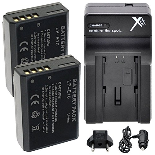 LP-E10 Battery (2) Extended Life Li-Ion Batteries for Canon EOS Rebel T3 T5 T6 Kiss X50 Kiss X70 EOS 1100D EOS 1200D EOS 1300D Digital Camera Two Pack + AC/DC Rapid Charger Fully Decoded For Sale
