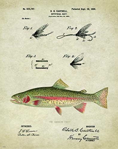Fly Fishing Trout Prints - Antique Fly Fishing Lure US Patent Poster Art Print Trout Largemouth Bass Walleye Muskie Lures Poles 11x14 Wall Decor Pictures