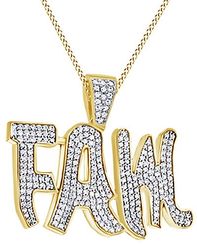 Cubic Zirconia Hip Hop Pendant in 14k Yellow Gold Over Sterling Silver (3.5 Cttw) by AFFY