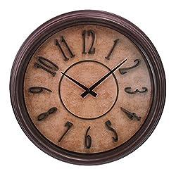 Kiera Grace Glasgow Wall Clock with Raised Numbers, 18-Inch, 2.5-Inch Deep, Distressed Dark Brown