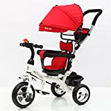 3 Wheel Stroller Multifunctional Children Folding Bicycle Pedal Ultraviolet Radiation Proof for Kid (Red)