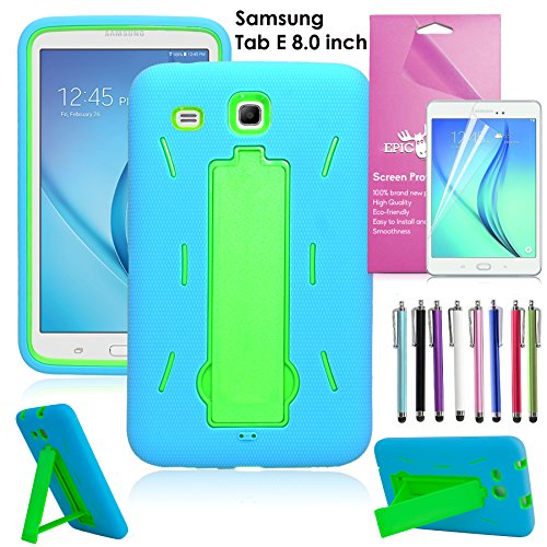 Samsung Galaxy Tablet E 8.0 Case, EpicGadget(TM) Tab E 8 inch T377/T375 Heavy Duty Hybrid Case Full Protection Cover with Kickstand For Tab E 8.0 Display + 1 Screen Protector (Blue/Green)