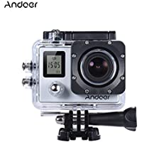 Andoer 4K 30fps/1080P 60fps Full HD 16MP Action Camera Waterproof 30m WiFi 2.0LCD Sports Helmet Bike DV Cam Camcorder 170 Degree 4X Zoom Dual Screen Car DVR (Sliver)
