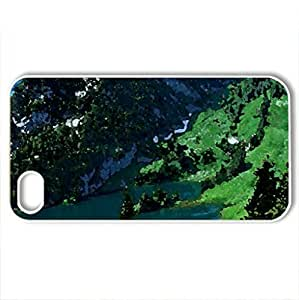 Amazing nature - Case Cover for iPhone 4 and 4s (Mountains Series, Watercolor style, White)