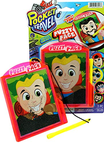 JA-RU Pocket Travel Fuzzy Face Magnetic Toys Spark Your Creativity by Drawing Facial Hair to Different Faces Pack of 1 | Item #3257