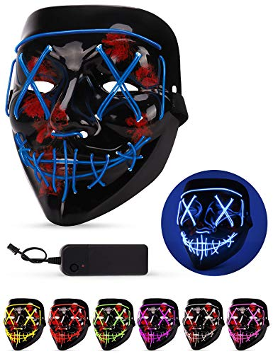 Scary Halloween Clips (Sago Brothers Scary Halloween Mask, LED Light up Mask Cosplay, Glowing in The Dark Mask Costume 3 Lighting Modes, Halloween Face Masks for Men Women Kids -)