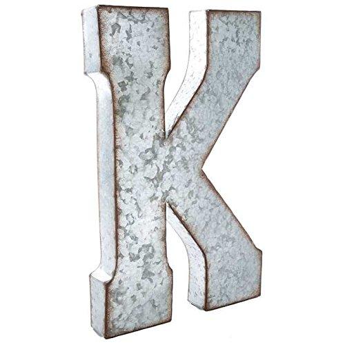 huge 20 metal alphabet wall dcor letter k rusted edge galvanized metal