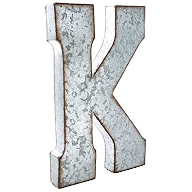 Huge 20  Metal Alphabet Wall Décor Letter K Rusted Edge Galvanized Metal